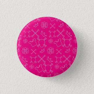 Pink Skull and Bones pattern 3 Cm Round Badge