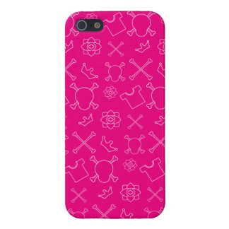 Pink Skull and Bones pattern Case For iPhone 5/5S