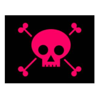 Pink Skull and Cross Bones Postcard