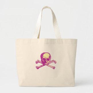 Pink Skull and Crossbones Tote Bags