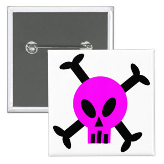 Pink Skull And Crossbones Button