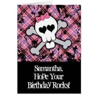 Pink Skull and Crossbones Girl Birthday Card
