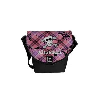 Pink Skull and Crossbones Messenger Bag