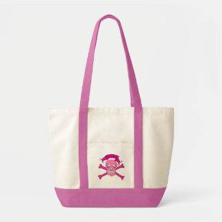 Pink Skull and Crossbones T-shirts and Gifts Canvas Bags