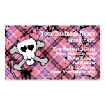 Pink Skull and Crossbones with Hearts and Bow Pack Of Standard Business Cards