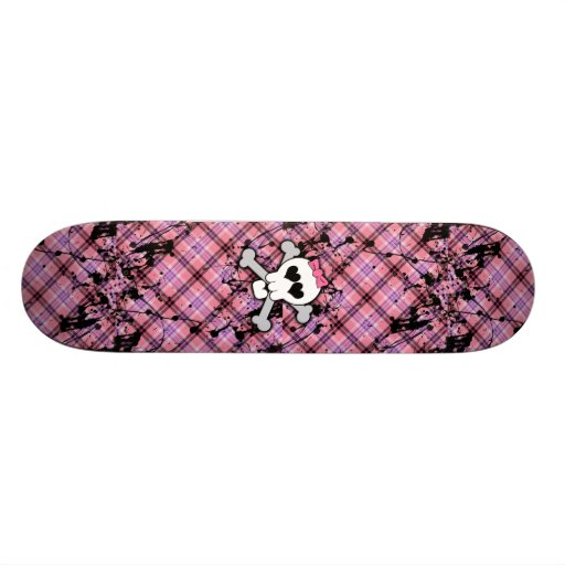 Pink Skull and Crossbones with Hearts and Bow Skateboard Deck