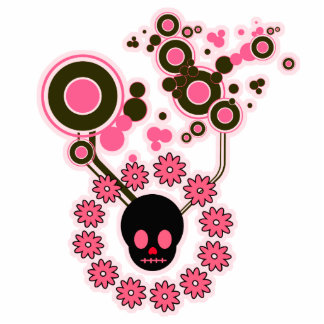 Pink Skull and Flower Circles Photo Sculpture Decoration