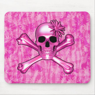 Pink Skull and Flower Mouse Pad