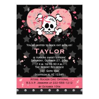 Pink Skull Birthday Invitations