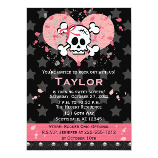 Pink Skull Birthday Invitations