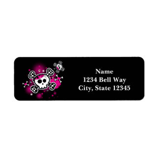 Pink Skull & Bones Hearts Girl Party Address Label