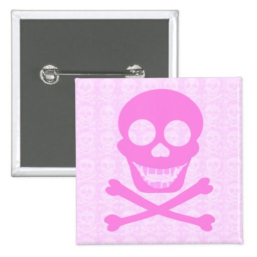 Pink Skull & Crossbones Buttons