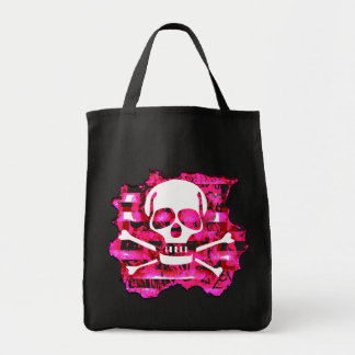 Pink Skull & Crossbones Grocery Bag