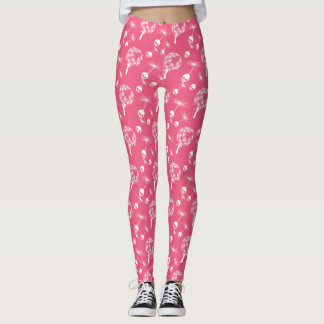 Pink Skull Dandelion Seeds Leggings