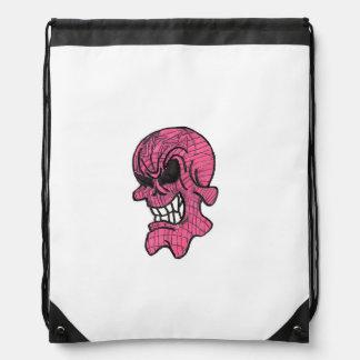 Pink Skull Drawstring Backpack