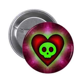 Pink Skull Heart Button