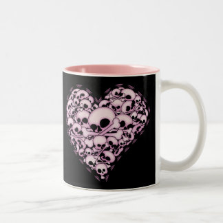 Pink Skull Heart Two-Tone Mug