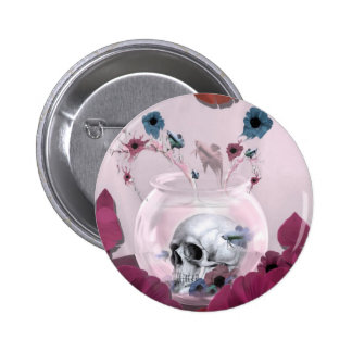 Pink skull in fish bowl buttons