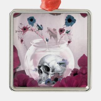 Pink skull in fish bowl ornament
