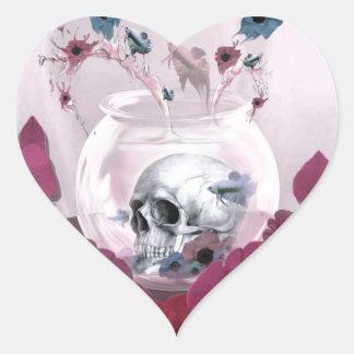 Pink skull in fish bowl heart sticker