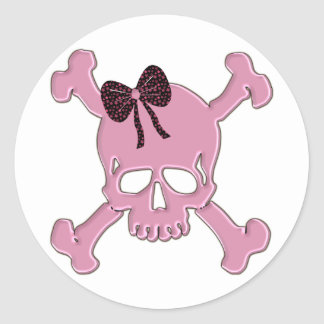 Pink Skull Round Stickers