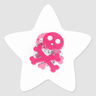 Pink skull with splatter star sticker