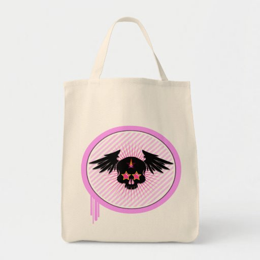Pink skull with wings in pink apple lifestyle bag