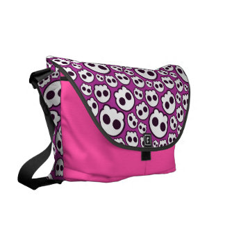 Pink skulls courier bags