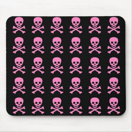 Pink Skulls on Black Mouse Pad
