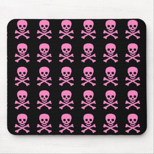 Pink Skulls on Black Mouse Pads