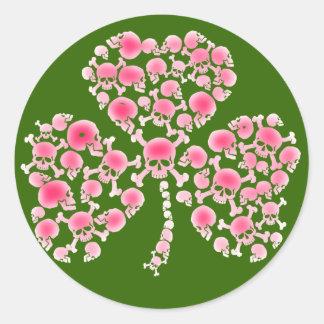 Pink Skulls Shamrock Round Sticker