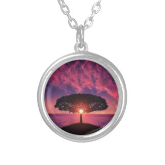 Pink sky silver plated necklace