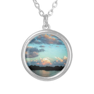Pink Sky Sunset Mississippi River Silver Plated Necklace