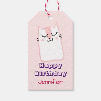 Pink Sleeping Kitty Cat Birthday Gift Tags