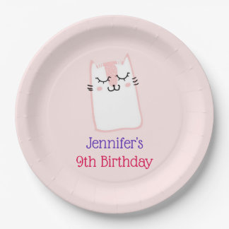 Pink Sleeping Kitty Cat Birthday Paper Plate