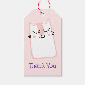 Pink Sleeping Kitty Cat Thank You Gift Tags