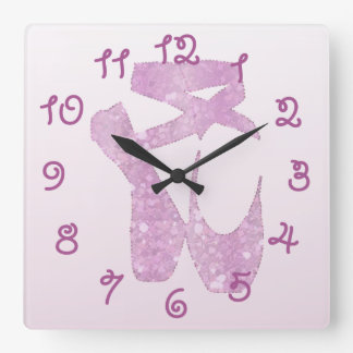 pink slippers square wall clock