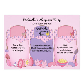 Pink Slumber Birthday Party 13 Cm X 18 Cm Invitation Card