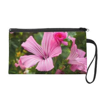 pink small pocket flower wristlet