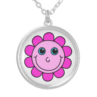 Pink Smiley Face Flower Silver Plated Necklace