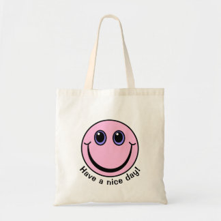Pink Smiley Face Have a nice day Tote Bag