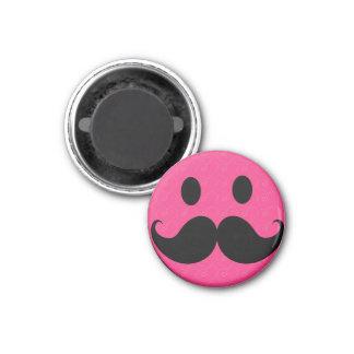 Pink Smiley Face Mustache Moustache Stache 3 Cm Round Magnet