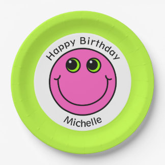 Pink Smiley Face Personalized Party Paper Plate