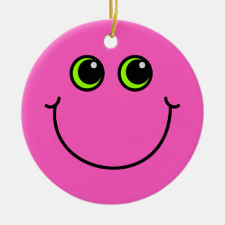 Pink Smiley Face Round Ceramic Decoration