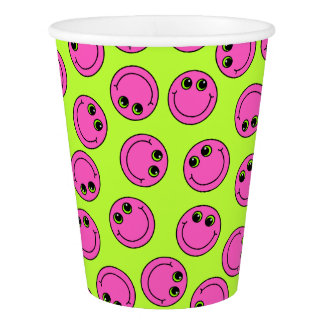 Pink Smiley Faces Paper Cup