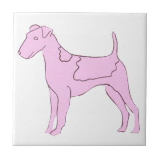 Pink Smooth Fox Terrier Tile