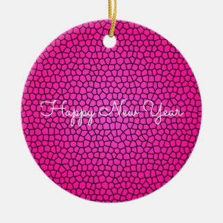 Pink Snake Print Design Ornament