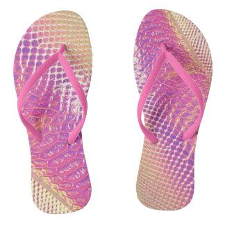 Pink Snake Skin Look Thongs