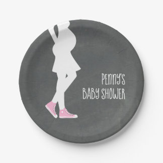 Pink Sneakers Baby Bump Baby Shower Paper Plate
