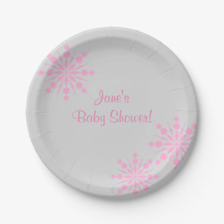 Pink Snowflake Baby ShowerPaper Plates